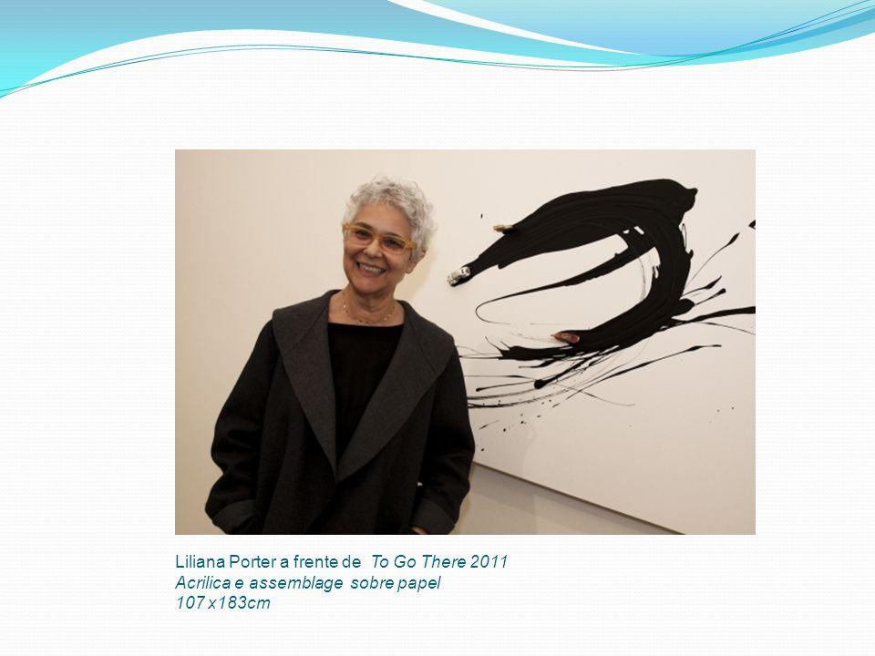 Liliana Porter a frente de To Go There 2011 Acrilica e assemblage sobre papel 107 x183cm