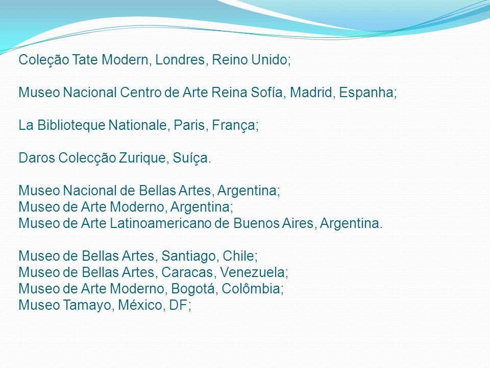 Coleção Tate Modern, Londres, Reino Unido; Museo Nacional Centro de Arte Reina Sofía, Madrid, Espanha; La Biblioteque Nationale, Paris, França; Daros
