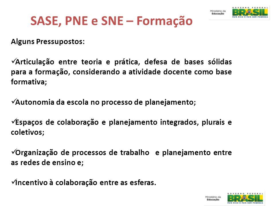 SASE, PNE e SNE – Formação Alguns Pressupostos: Articulação entre teoria e prática, defesa de bases sólidas para a formação, considerando a atividade