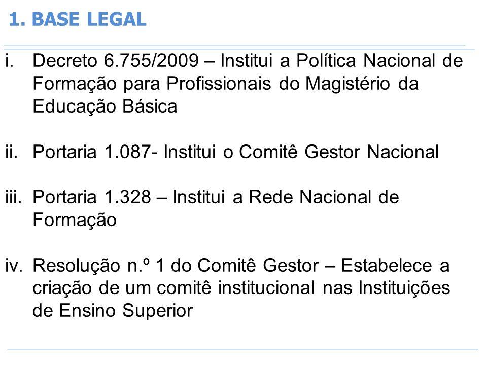 1. BASE LEGAL i.Decreto 6.755/2009 – Institui a Política Nacional de Formação para Profissionais do Magistério da Educação Básica ii.Portaria 1.087- I