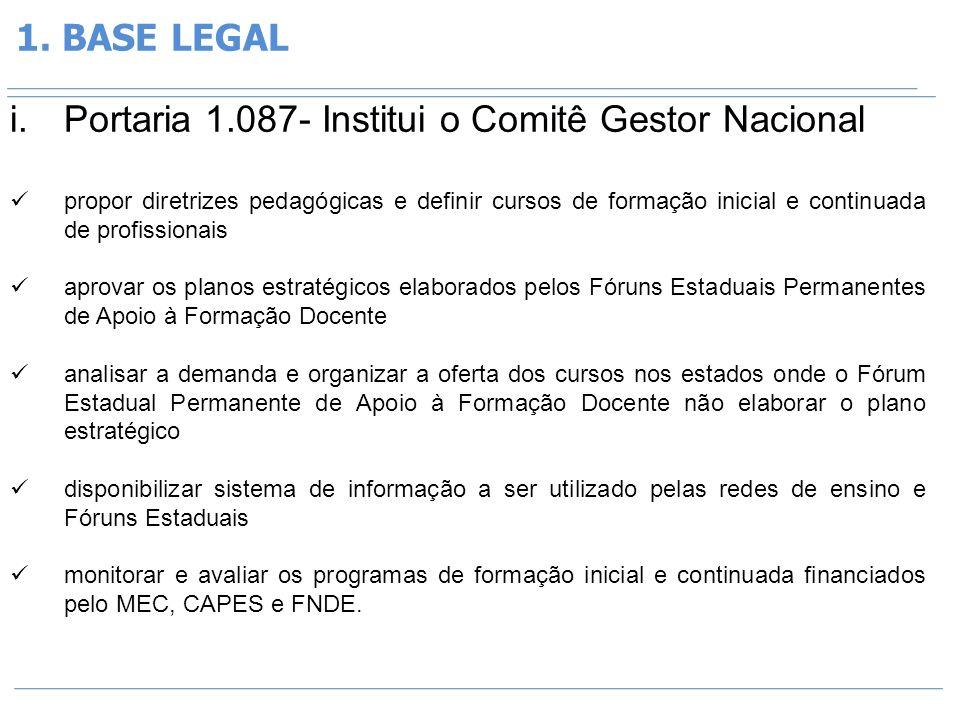1. BASE LEGAL i.Portaria 1.087- Institui o Comitê Gestor Nacional propor diretrizes pedagógicas e definir cursos de formação inicial e continuada de p