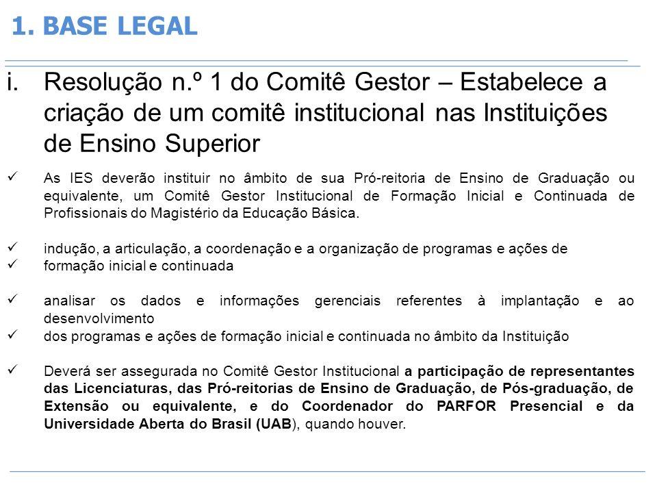 1. BASE LEGAL i.Resolução n.º 1 do Comitê Gestor – Estabelece a criação de um comitê institucional nas Instituições de Ensino Superior As IES deverão