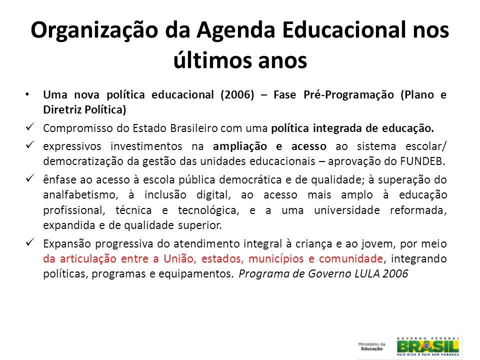 Uma nova política educacional (2006) – Fase Pré-Programação (Plano e Diretriz Política) Compromisso do Estado Brasileiro com uma política integrada de