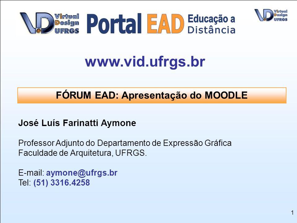 1 José Luís Farinatti Aymone Professor Adjunto do Departamento de Expressão Gráfica Faculdade de Arquitetura, UFRGS. E-mail: aymone@ufrgs.br Tel: (51)