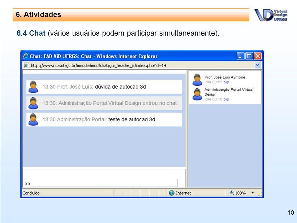 10 6. Atividades 6.4 Chat (vários usuários podem participar simultaneamente).