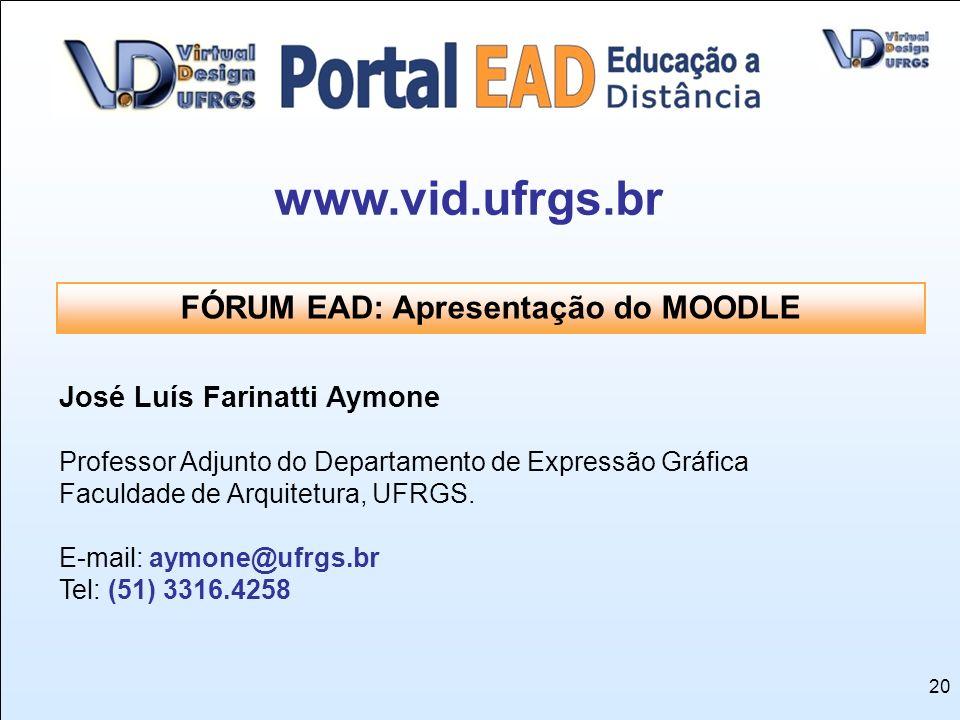 20 José Luís Farinatti Aymone Professor Adjunto do Departamento de Expressão Gráfica Faculdade de Arquitetura, UFRGS. E-mail: aymone@ufrgs.br Tel: (51