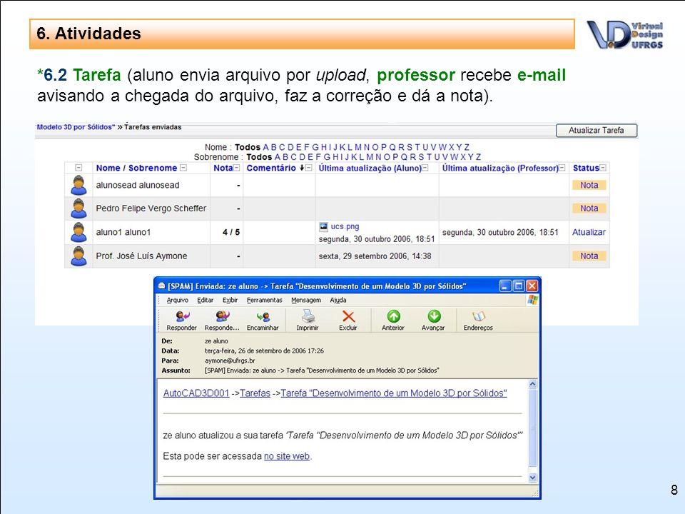 8 6. Atividades *6.2 Tarefa (aluno envia arquivo por upload, professor recebe e-mail avisando a chegada do arquivo, faz a correção e dá a nota).