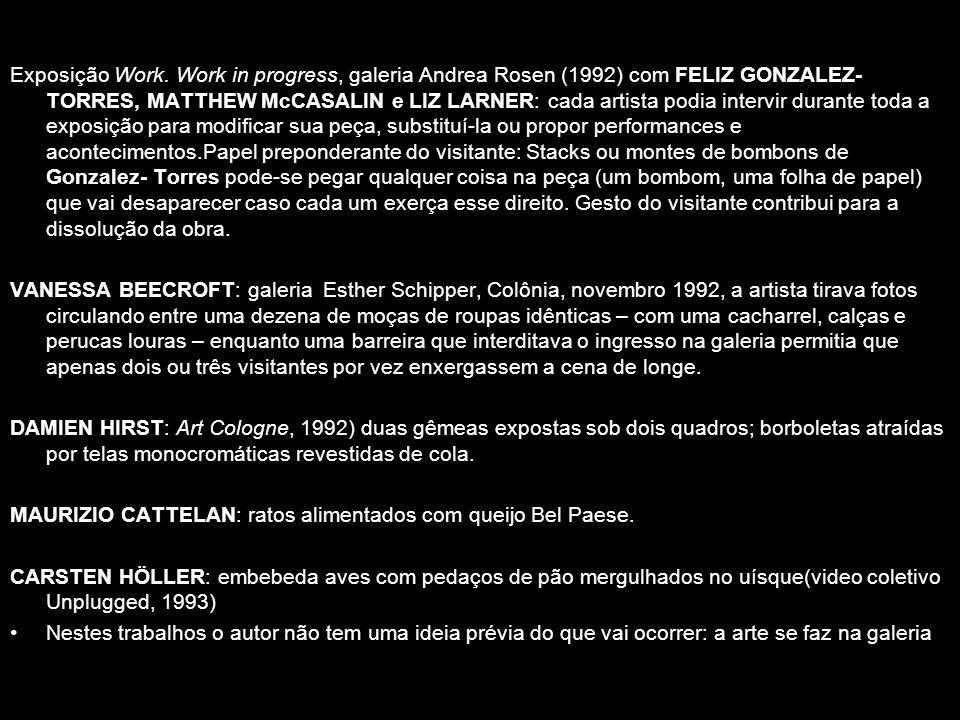 Exposição Work. Work in progress, galeria Andrea Rosen (1992) com FELIZ GONZALEZ- TORRES, MATTHEW McCASALIN e LIZ LARNER: cada artista podia intervir