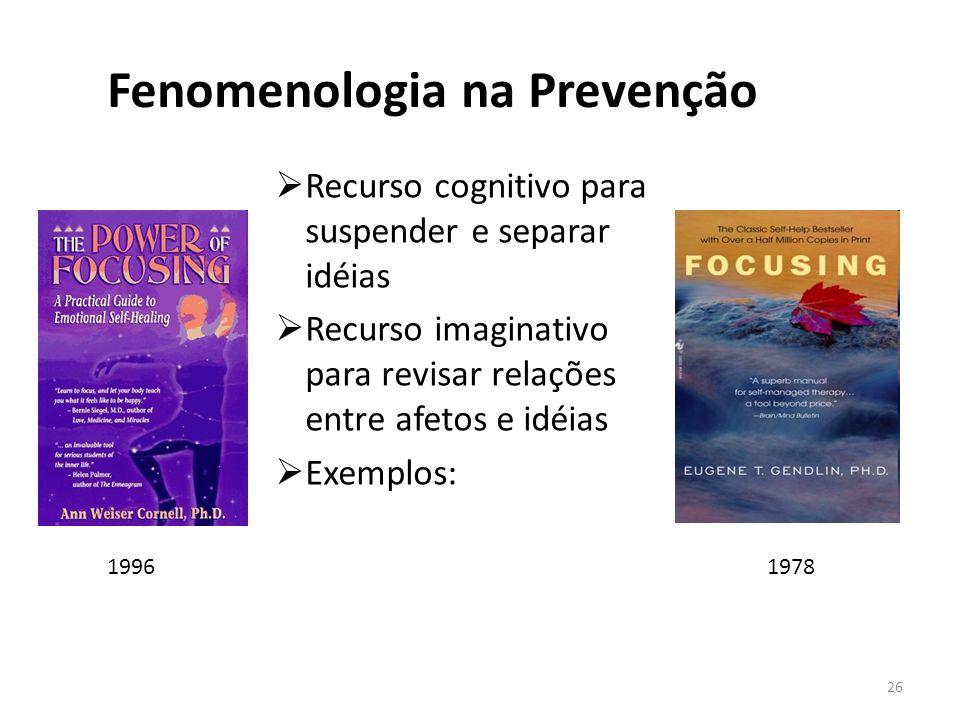 Fenomenologia na Prevenção Recurso cognitivo para suspender e separar idéias Recurso imaginativo para revisar relações entre afetos e idéias Exemplos:
