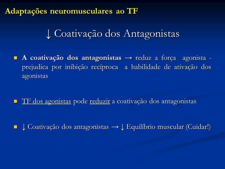 Coativação dos Antagonistas Coativação dos Antagonistas A coativação dos antagonistas reduz a força agonista - prejudica por inibição recíproca a habi
