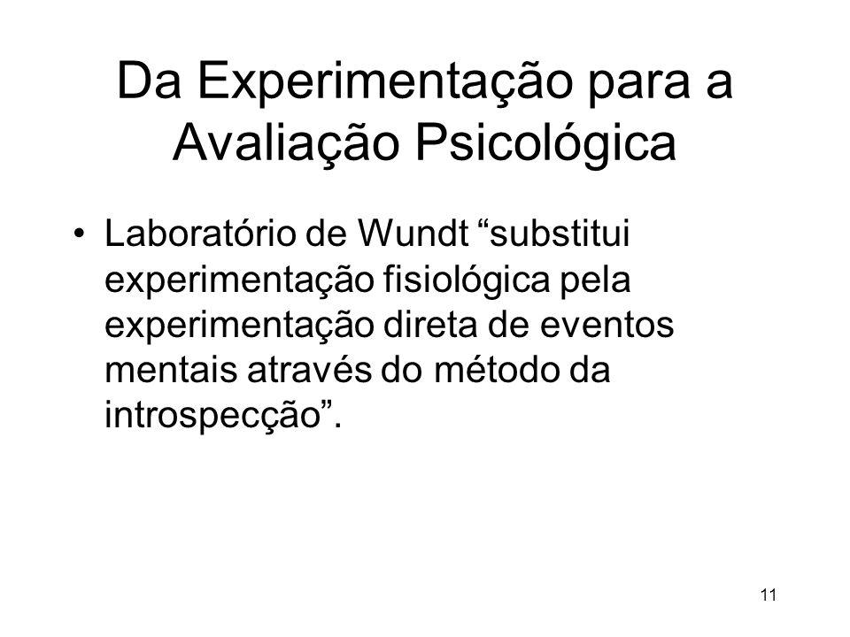 11 Da Experimentação para a Avaliação Psicológica Laboratório de Wundt substitui experimentação fisiológica pela experimentação direta de eventos ment