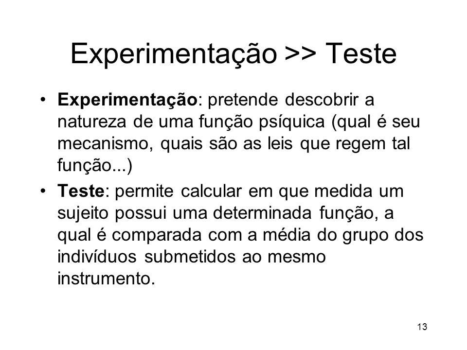 13 Experimentação >> Teste Experimentação: pretende descobrir a natureza de uma função psíquica (qual é seu mecanismo, quais são as leis que regem tal