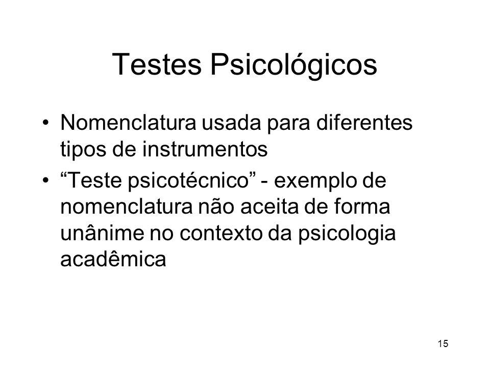 15 Testes Psicológicos Nomenclatura usada para diferentes tipos de instrumentos Teste psicotécnico - exemplo de nomenclatura não aceita de forma unâni