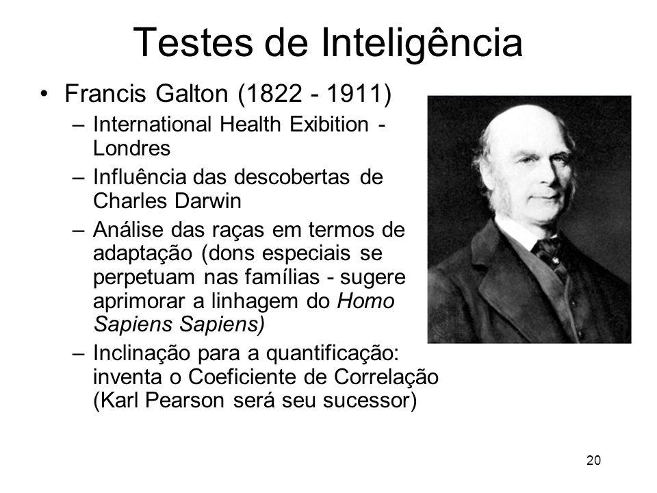 20 Testes de Inteligência Francis Galton (1822 - 1911) –International Health Exibition - Londres –Influência das descobertas de Charles Darwin –Anális