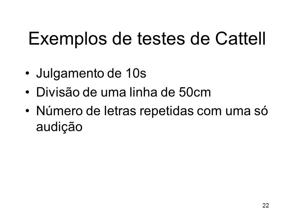 22 Exemplos de testes de Cattell Julgamento de 10s Divisão de uma linha de 50cm Número de letras repetidas com uma só audição