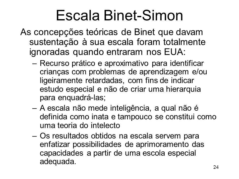24 Escala Binet-Simon As concepções teóricas de Binet que davam sustentação à sua escala foram totalmente ignoradas quando entraram nos EUA: –Recurso