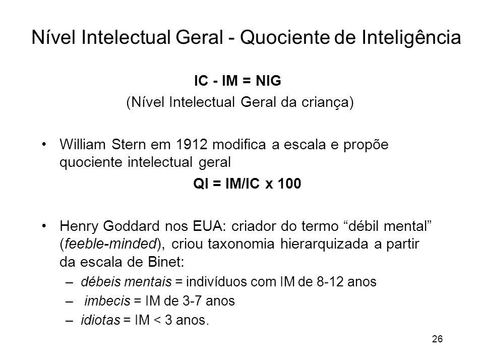 26 Nível Intelectual Geral - Quociente de Inteligência IC - IM = NIG (Nível Intelectual Geral da criança) William Stern em 1912 modifica a escala e pr