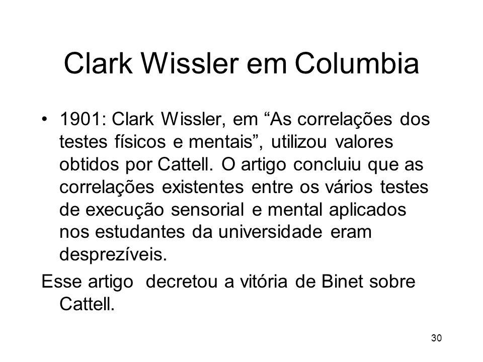 30 Clark Wissler em Columbia 1901: Clark Wissler, em As correlações dos testes físicos e mentais, utilizou valores obtidos por Cattell. O artigo concl