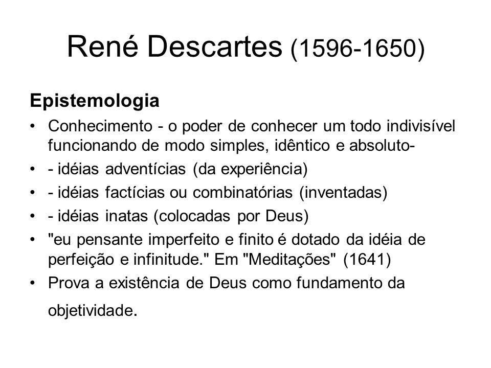 René Descartes (1596-1650) Mente consciência pura pensamento vontade não biológica compreensão/vontad e julgamentos Corpo sensações movimentos emoções e paixões biológica área confusa entre mente e corpo (emoções, percepções)