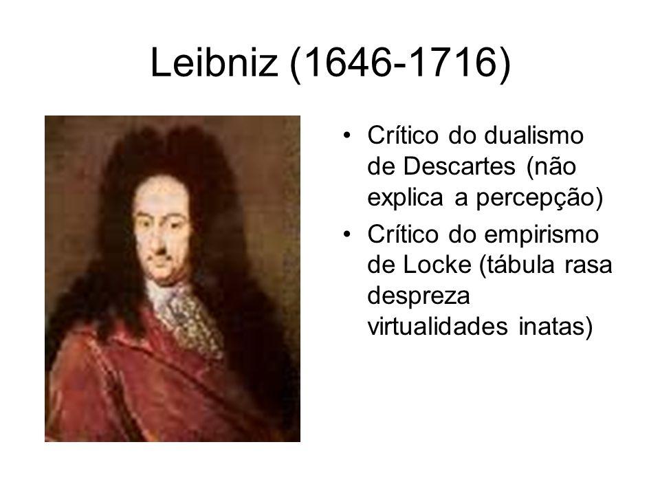 Leibniz (1646-1716) Ontologia O universo é composto de incontáveis centros de consciência de força espiritual ou energia, conhecidas como Mônadas.