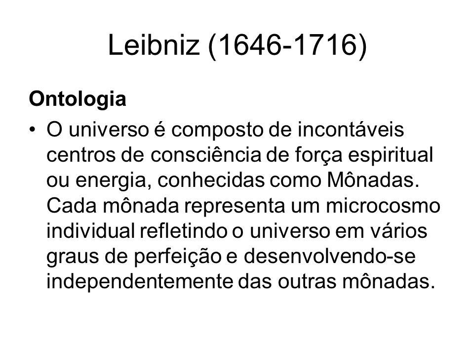 Leibniz (1646-1716) Epistemologia Refere-se a vida mental como um campo limitado.