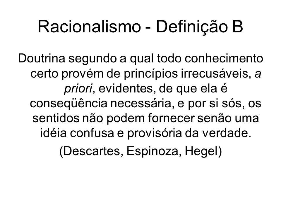 Racionalismo - Definição C A experiência só é possível para um espírito que tenha disciplina intelectual: fé na razão, na evidência e na demonstração; crença na eficácia da luz natural.