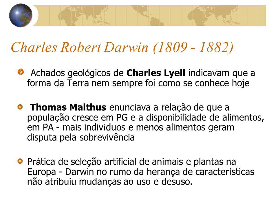 Charles Robert Darwin (1809 - 1882) Achados geol ó gicos de Charles Lyell indicavam que a forma da Terra nem sempre foi como se conhece hoje Thomas Ma