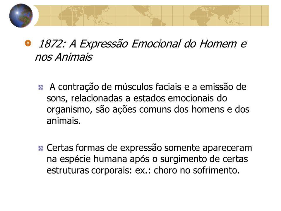 1872: A Expressão Emocional do Homem e nos Animais A contração de m ú sculos faciais e a emissão de sons, relacionadas a estados emocionais do organis