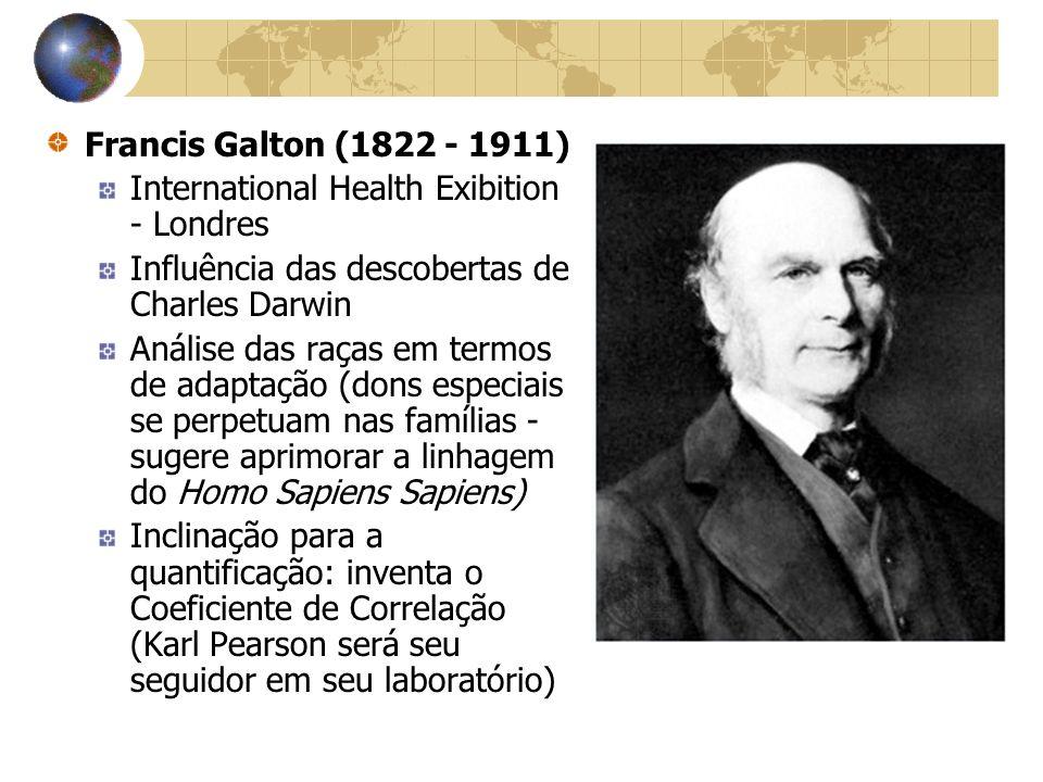 Francis Galton (1822 - 1911) International Health Exibition - Londres Influência das descobertas de Charles Darwin Análise das raças em termos de adap