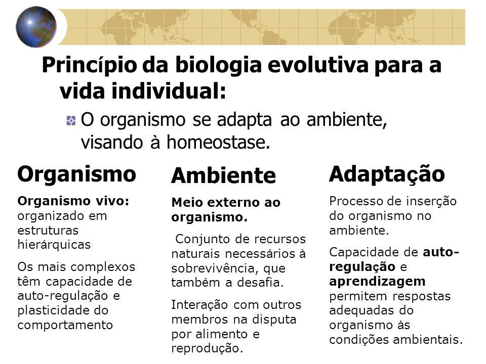 Princ í pio da biologia evolutiva para a vida individual: O organismo se adapta ao ambiente, visando à homeostase. Organismo Organismo vivo: organizad