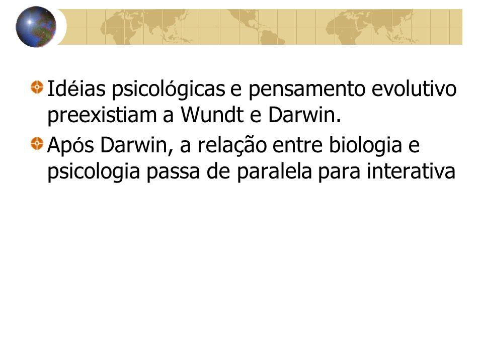 Id é ias psicol ó gicas e pensamento evolutivo preexistiam a Wundt e Darwin. Ap ó s Darwin, a relação entre biologia e psicologia passa de paralela pa