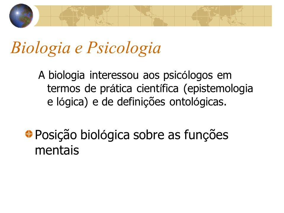 Biologia e Psicologia A biologia interessou aos psic ó logos em termos de pr á tica cient í fica (epistemologia e l ó gica) e de defini ç ões ontol ó