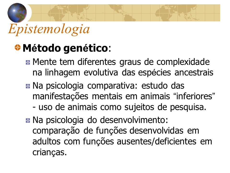 Epistemologia M é todo gen é tico: Mente tem diferentes graus de complexidade na linhagem evolutiva das esp é cies ancestrais Na psicologia comparativ