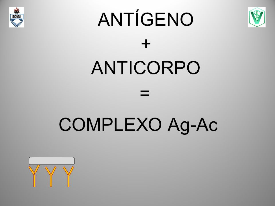 = COMPLEXO Ag-Ac ANTÍGENO + ANTICORPO