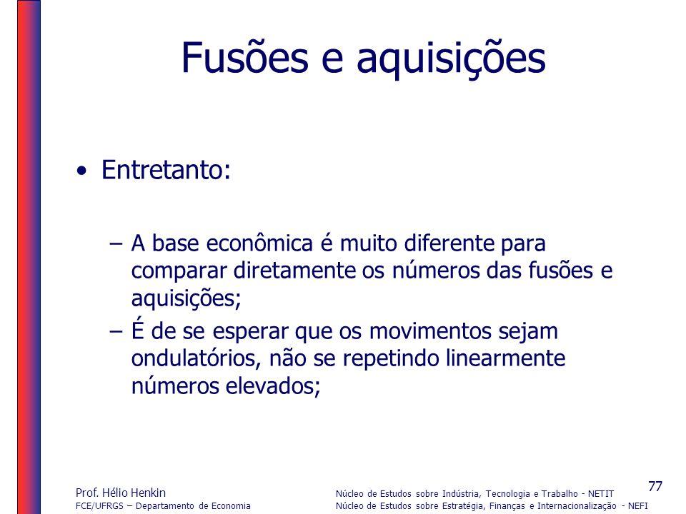 Prof. Hélio Henkin Núcleo de Estudos sobre Indústria, Tecnologia e Trabalho - NETIT FCE/UFRGS – Departamento de Economia Núcleo de Estudos sobre Estra