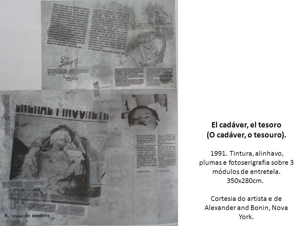 El cadáver, el tesoro (O cadáver, o tesouro). 1991. Tintura, alinhavo, plumas e fotoserigrafia sobre 3 módulos de entretela. 350x280cm. Cortesia do ar