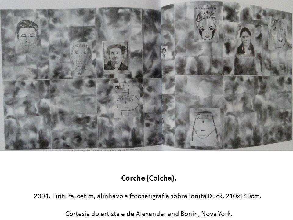 Corche (Colcha). 2004. Tintura, cetim, alinhavo e fotoserigrafia sobre lonita Duck. 210x140cm. Cortesia do artista e de Alexander and Bonin, Nova York