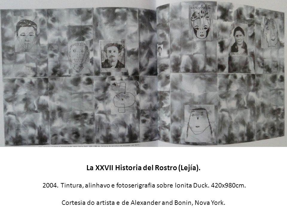 La XXVII Historia del Rostro (Lejía). 2004. Tintura, alinhavo e fotoserigrafia sobre lonita Duck. 420x980cm. Cortesia do artista e de Alexander and Bo