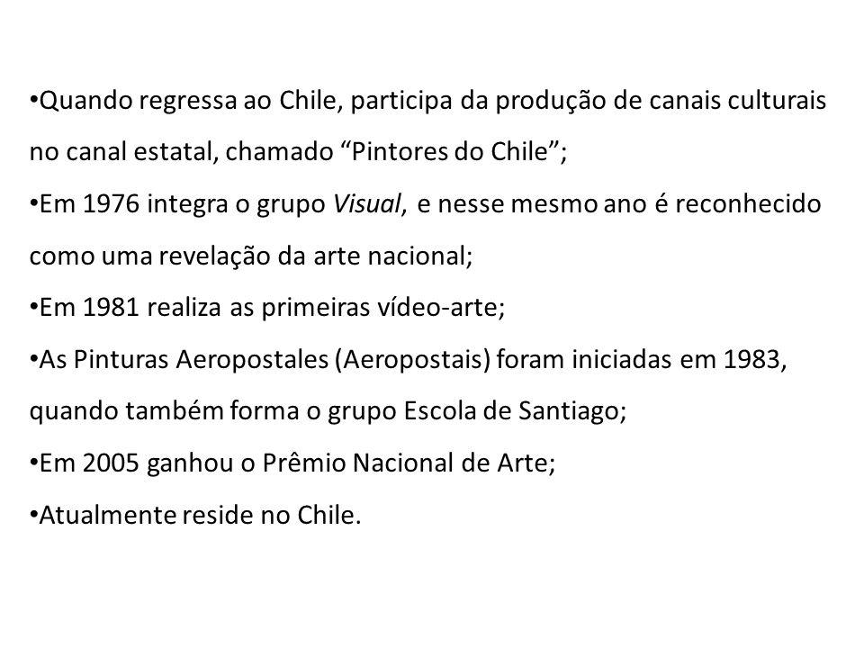 Quando regressa ao Chile, participa da produção de canais culturais no canal estatal, chamado Pintores do Chile; Em 1976 integra o grupo Visual, e nes