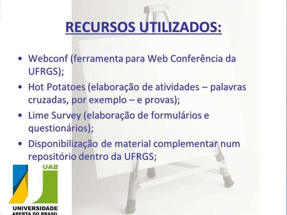 RECURSOS UTILIZADOS: Webconf (ferramenta para Web Conferência da UFRGS);Webconf (ferramenta para Web Conferência da UFRGS); Hot Potatoes (elaboração d