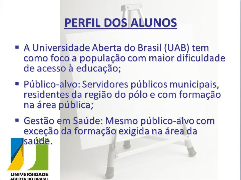 PERFIL DOS ALUNOS A Universidade Aberta do Brasil (UAB) tem como foco a população com maior dificuldade de acesso à educação; A Universidade Aberta do