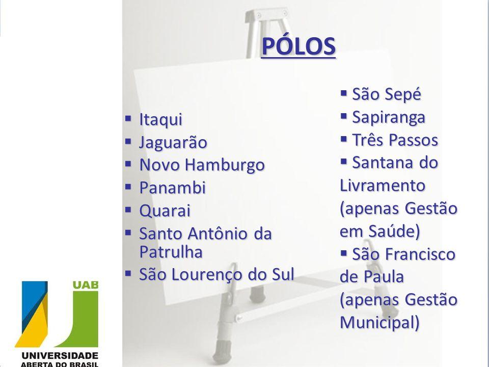 PÓLOS Itaqui Itaqui Jaguarão Jaguarão Novo Hamburgo Novo Hamburgo Panambi Panambi Quarai Quarai Santo Antônio da Patrulha Santo Antônio da Patrulha Sã