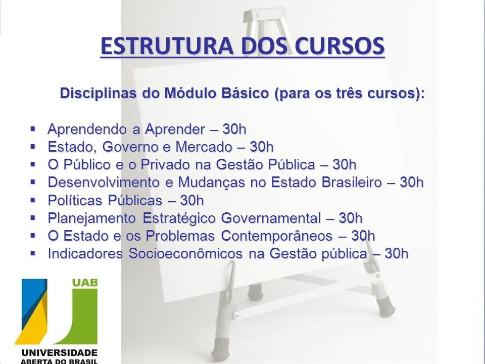 ESTRUTURA DOS CURSOS Disciplinas do Módulo Básico (para os três cursos): Aprendendo a Aprender – 30h Aprendendo a Aprender – 30h Estado, Governo e Mer