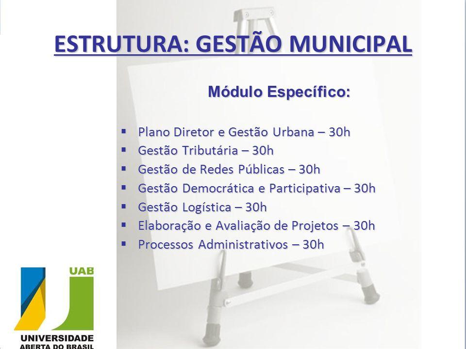 ESTRUTURA: GESTÃO MUNICIPAL Módulo Específico: Plano Diretor e Gestão Urbana – 30h Plano Diretor e Gestão Urbana – 30h Gestão Tributária – 30h Gestão