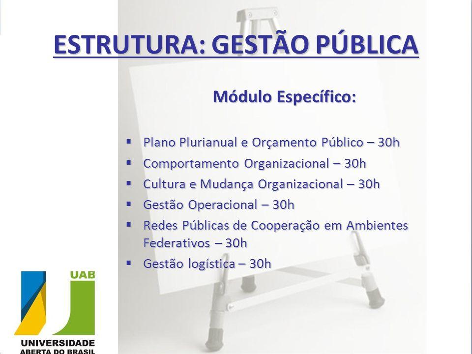 ESTRUTURA: GESTÃO PÚBLICA Módulo Específico: Plano Plurianual e Orçamento Público – 30h Plano Plurianual e Orçamento Público – 30h Comportamento Organ