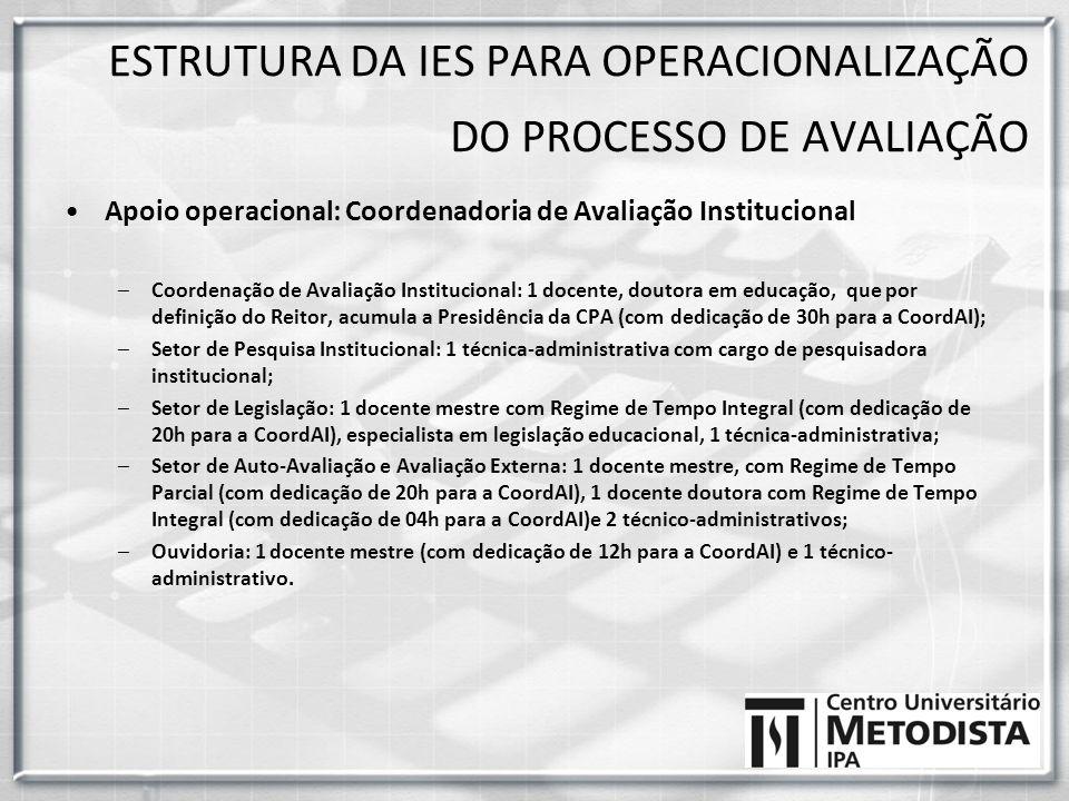 Apoio operacional: Coordenadoria de Avaliação Institucional –Coordenação de Avaliação Institucional: 1 docente, doutora em educação, que por definição