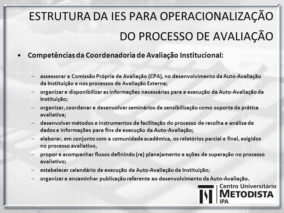 Competências da Coordenadoria de Avaliação Institucional: –assessorar a Comissão Própria de Avaliação (CPA), no desenvolvimento da Auto-Avaliação da I