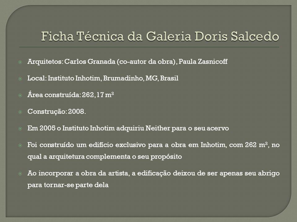 Arquitetos: Carlos Granada (co-autor da obra), Paula Zasnicoff Local: Instituto Inhotim, Brumadinho, MG, Brasil Área construída: 262,17 m 2 Construção