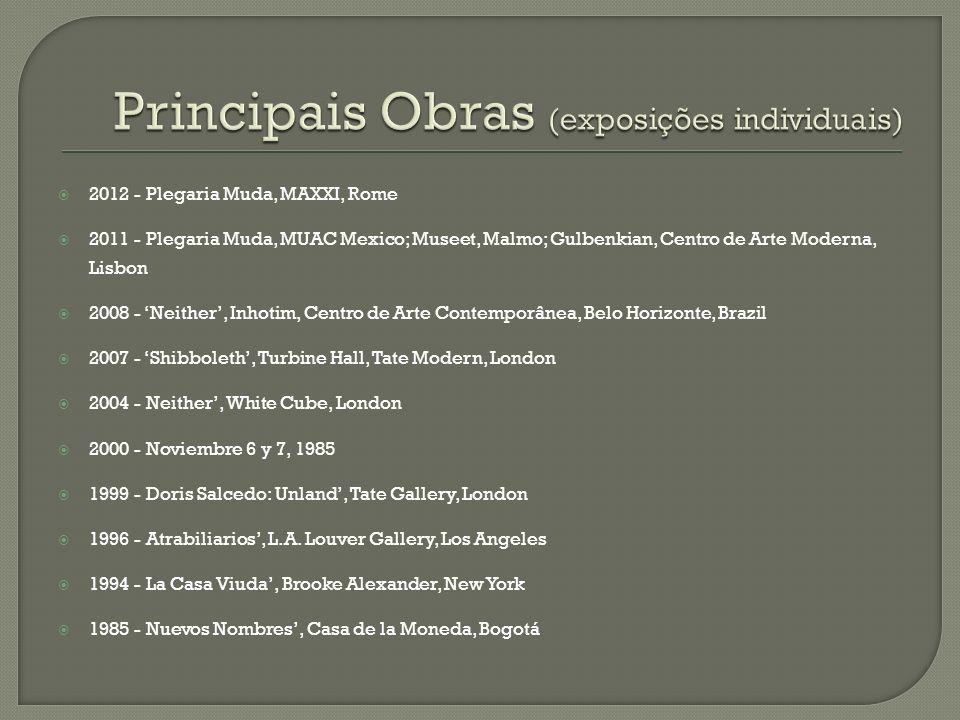 2012 - Plegaria Muda, MAXXI, Rome 2011 - Plegaria Muda, MUAC Mexico; Museet, Malmo; Gulbenkian, Centro de Arte Moderna, Lisbon 2008 - Neither, Inhotim