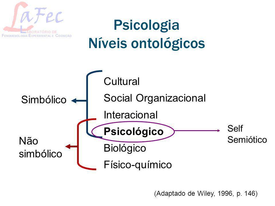Psicologia Níveis ontológicos Cultural Social Organizacional Interacional Psicológico Biológico Físico-químico Simbólico Não simbólico (Adaptado de Wi
